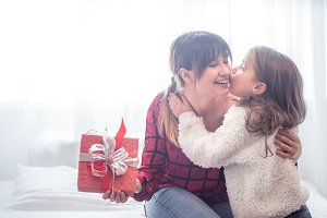 Christmas concept, mom and daughter