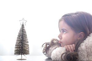 Christmas background with a girl