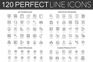120 Perfect Line concept icons