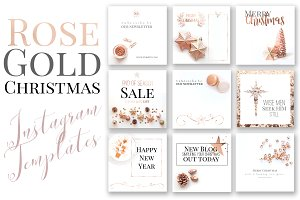 Rose Gold Xmas Instagram Templates