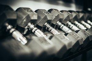 Dumbbells On Rack At A Gym
