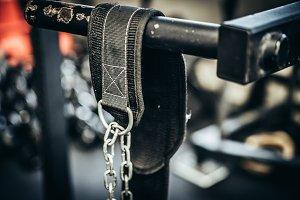 Dip Belt on Dip Horn At A Gym