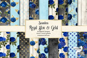 Royal Blue and Gold Floral Patterns