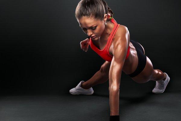 Woman Doing Push-Ups workout