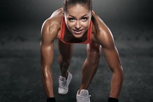 beautiful athlete on low start