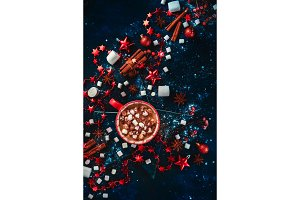 Hot cocoa winter flat lay. Red mug