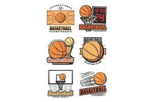 Basketball game, team vector icons