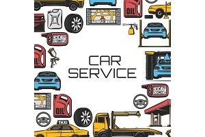 Car repair and service, vector