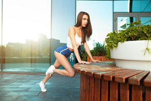 Slim fitness young woman Athlete gir