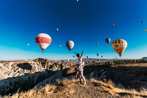 Couple in love among the balloons