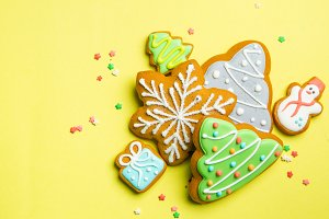 Christmas cookies on bright yellow