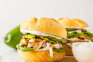 Grilled chicken and avocado burger