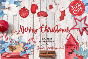 30% OFF Merry Christmas watercolor