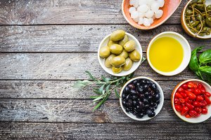 Mediterranean snack assortment.