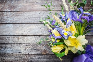 Bouquet of yellow and purple flowers