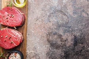 Raw marbled meat steak