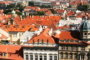 Prague street aerial view