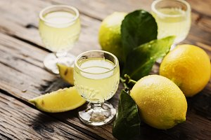 Italian typical digestive limoncello