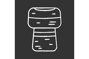 Wine cork chalk icon