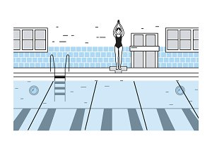 Swimming pool lineart illustration