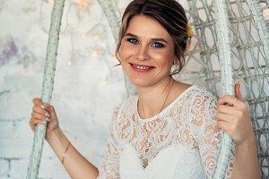 portrait of a bride in white studio