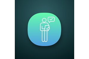 Person checking document app icon