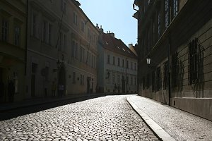 Prague street in sunshine day