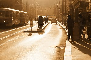 Sunset on prague street
