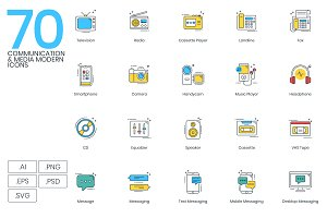 70 Communications & Media Icons
