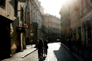 Bycicle riding on Prague streets