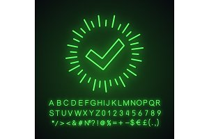 Checkmark neon light icon