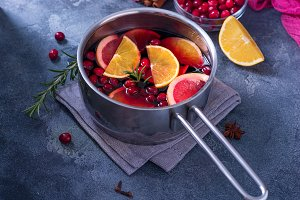 Mulled wine in cooking saucepan