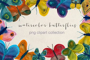 abstract watercolor butterflies