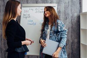 English language school. Two female
