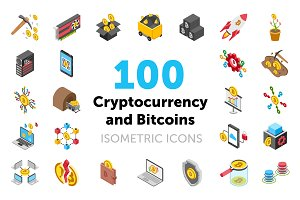 100 Cryptocurrency and Bitcoin Icons