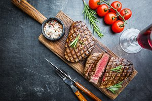 Grilled marbled meat steak