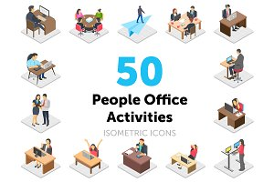 50 Office Activities Vector Icons