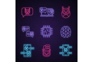 Chatbots neon light icons set