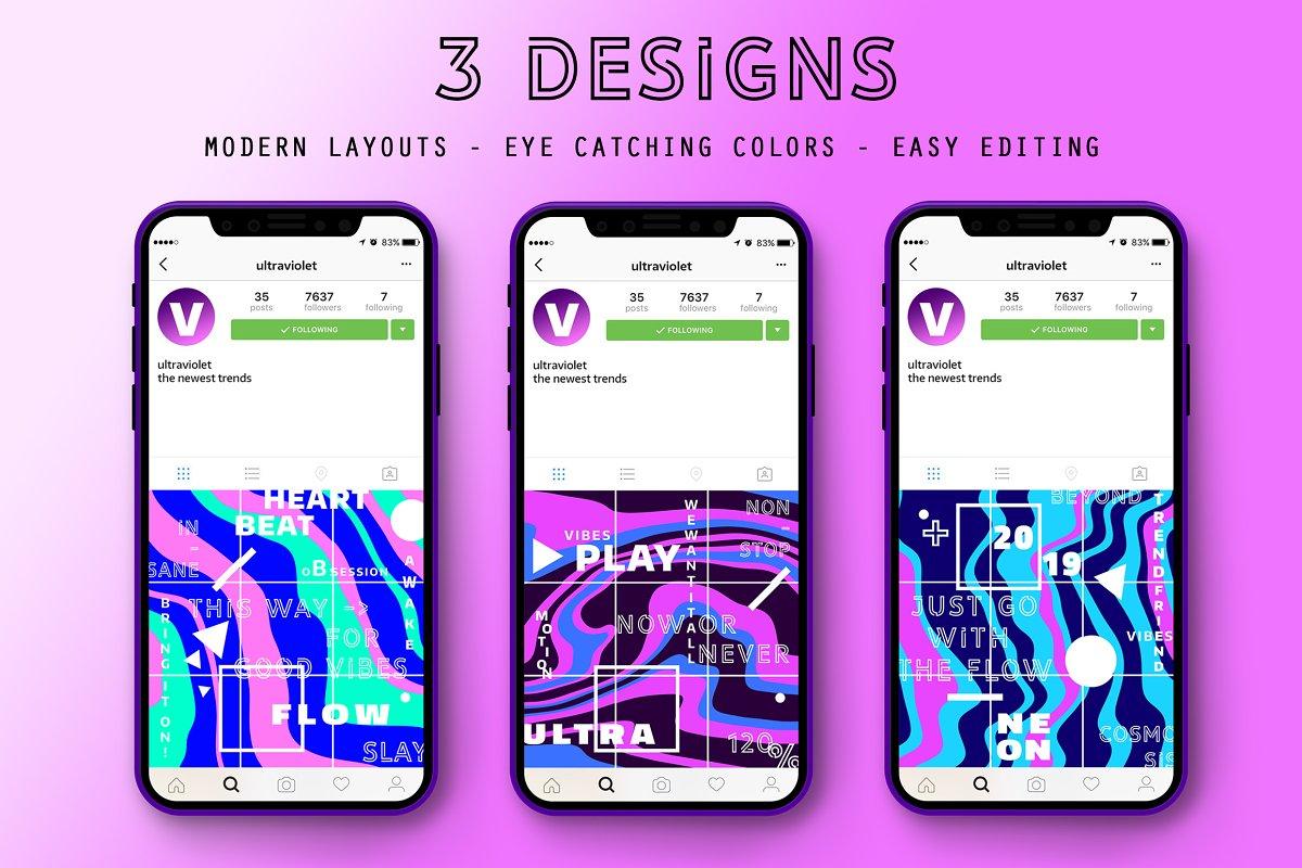 FLOW Instagram Tiles ~ Instagram Templates ~ Creative Market