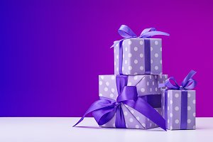 Boxes with gifts in elegant paper