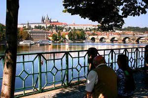 Couple near Valtva river. Prague