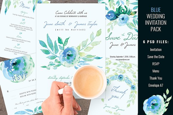 blue wedding invitation pack invitation templates creative market