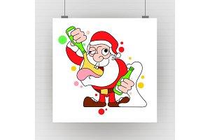 Santa Dancing and Drinking Vector
