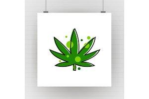 Cannabis green silhouette logo. Hemp