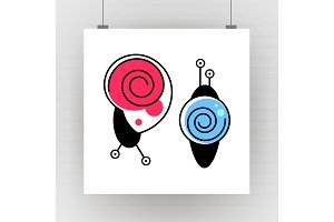 Silhouette of cartoon snail with
