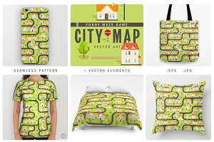 """Vector Pattern: """"Funny City Map"""""""