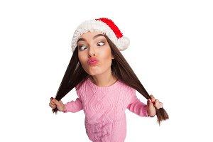 Model with funny face in hat