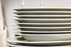 stacked dishes in a modern kitchen