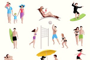 People on beach icons set