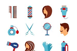 Barber shop and hairdressing icons